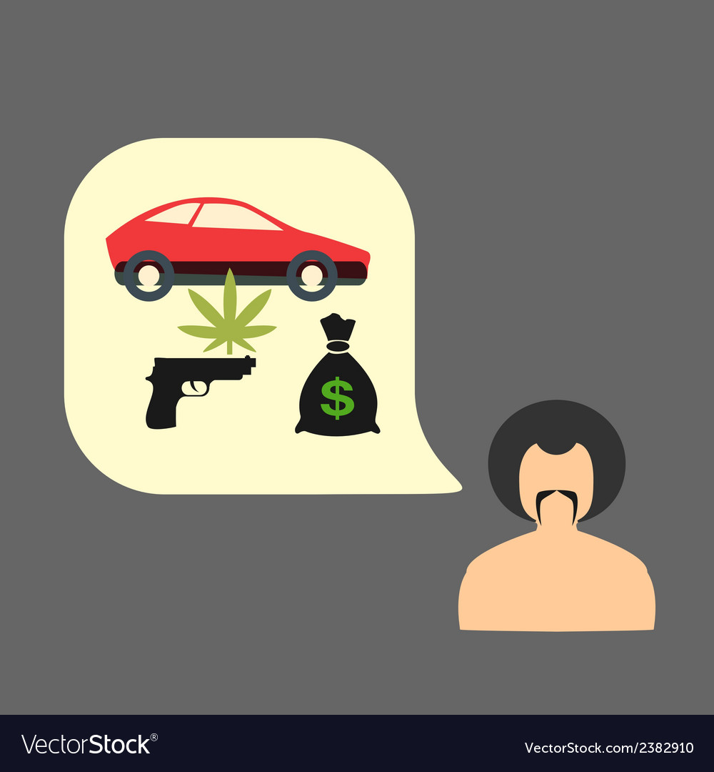 Set gangster money weapons drugs vector | Price: 1 Credit (USD $1)