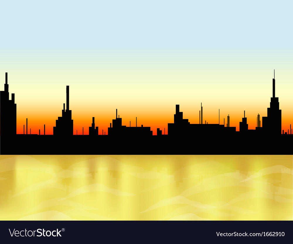 Sunset in the city and sea vector | Price: 1 Credit (USD $1)