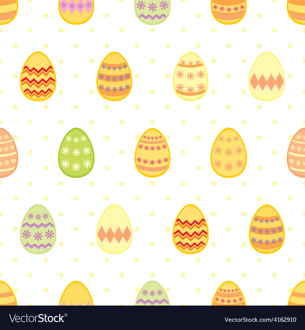 Tile pattern with easter eggs and yellow polka dot vector | Price: 1 Credit (USD $1)