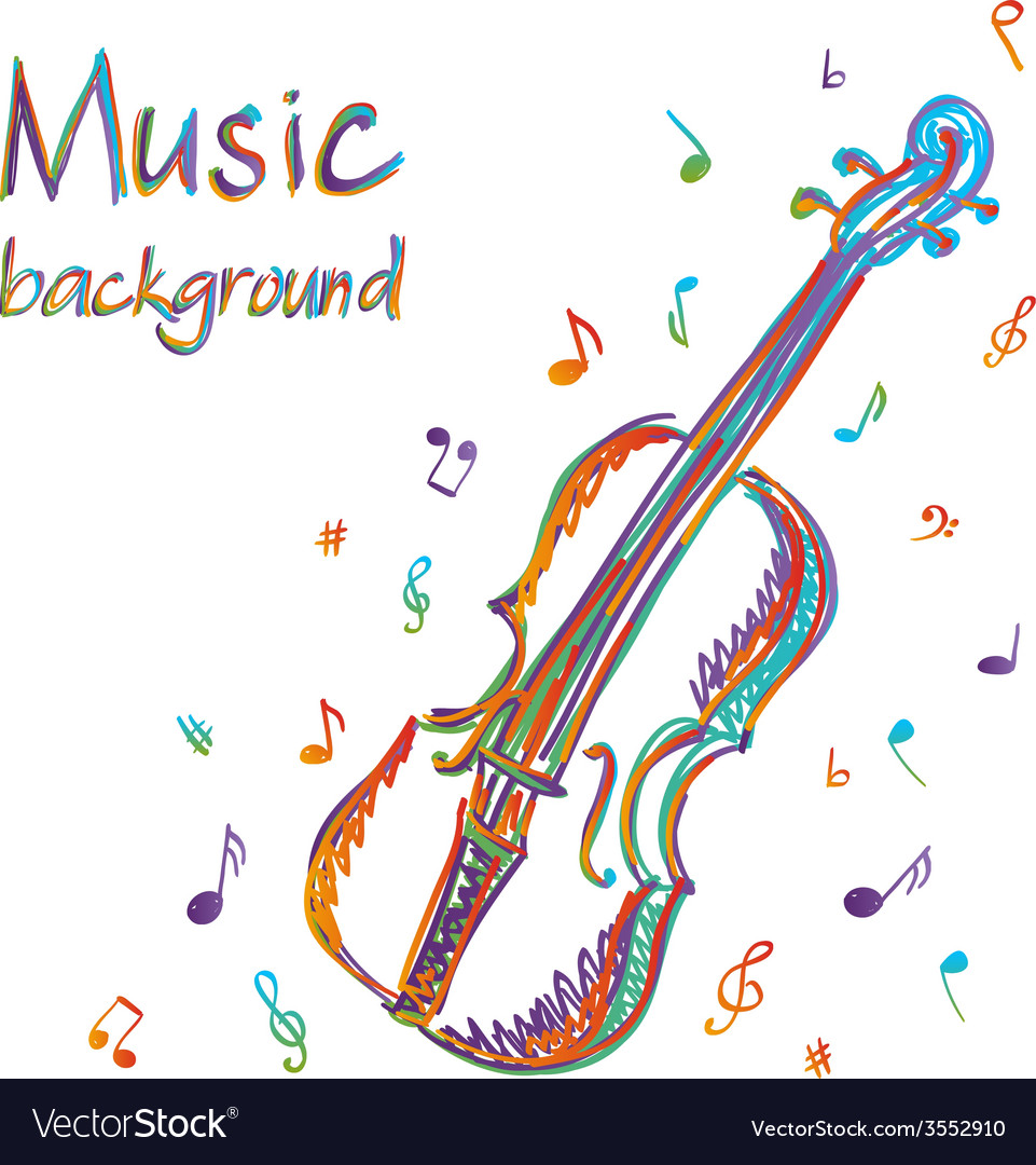 Violin music background with notes vector | Price: 1 Credit (USD $1)