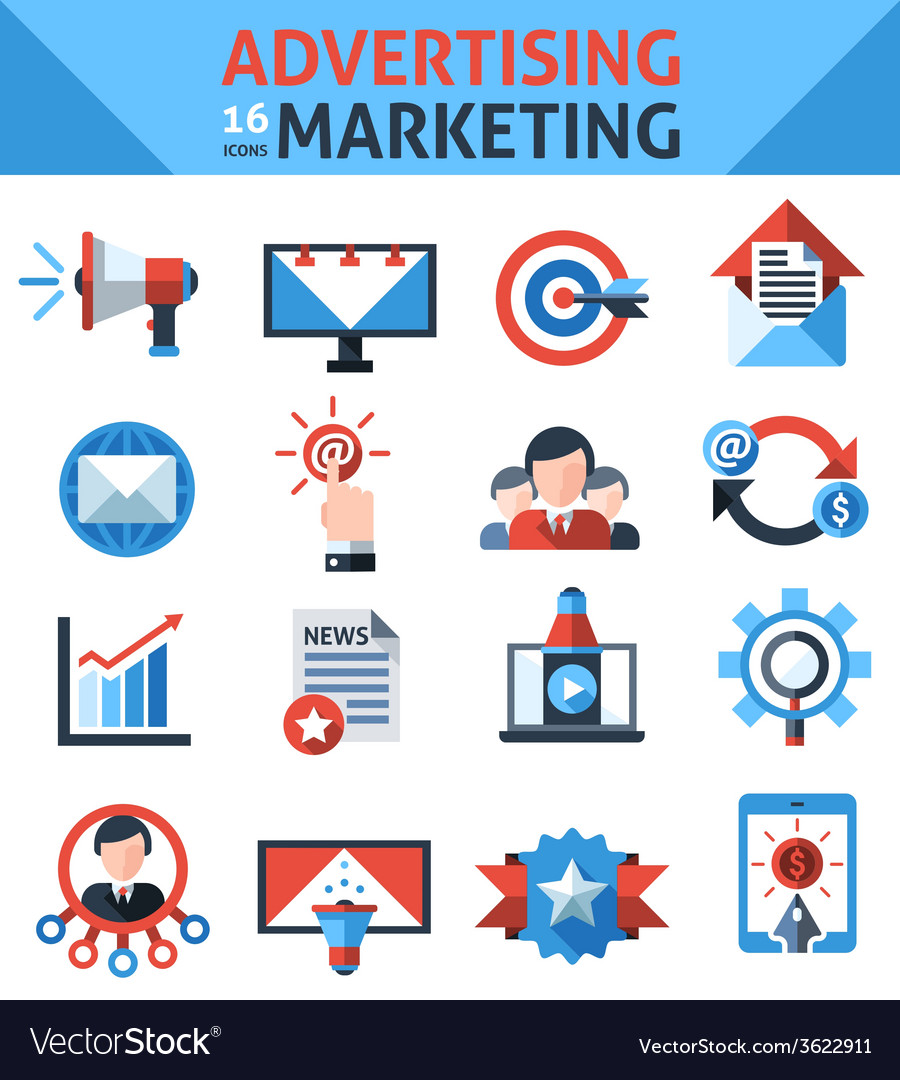 Advertising marketing icons vector | Price: 1 Credit (USD $1)