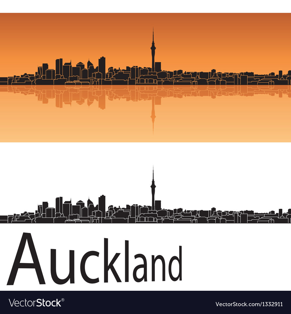 Auckland skyline in orange background vector | Price: 1 Credit (USD $1)