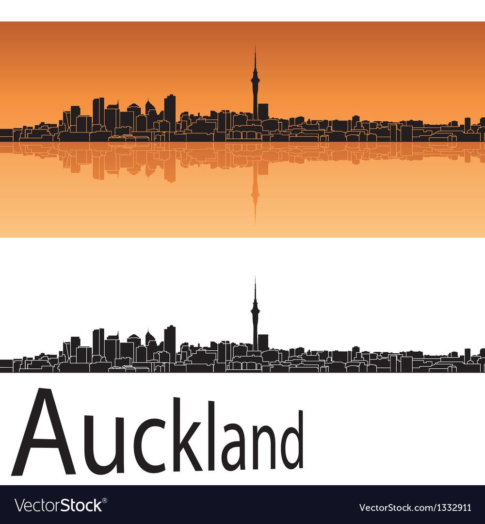 Auckland skyline in orange background vector | Price: 1 Credit (USD $1)