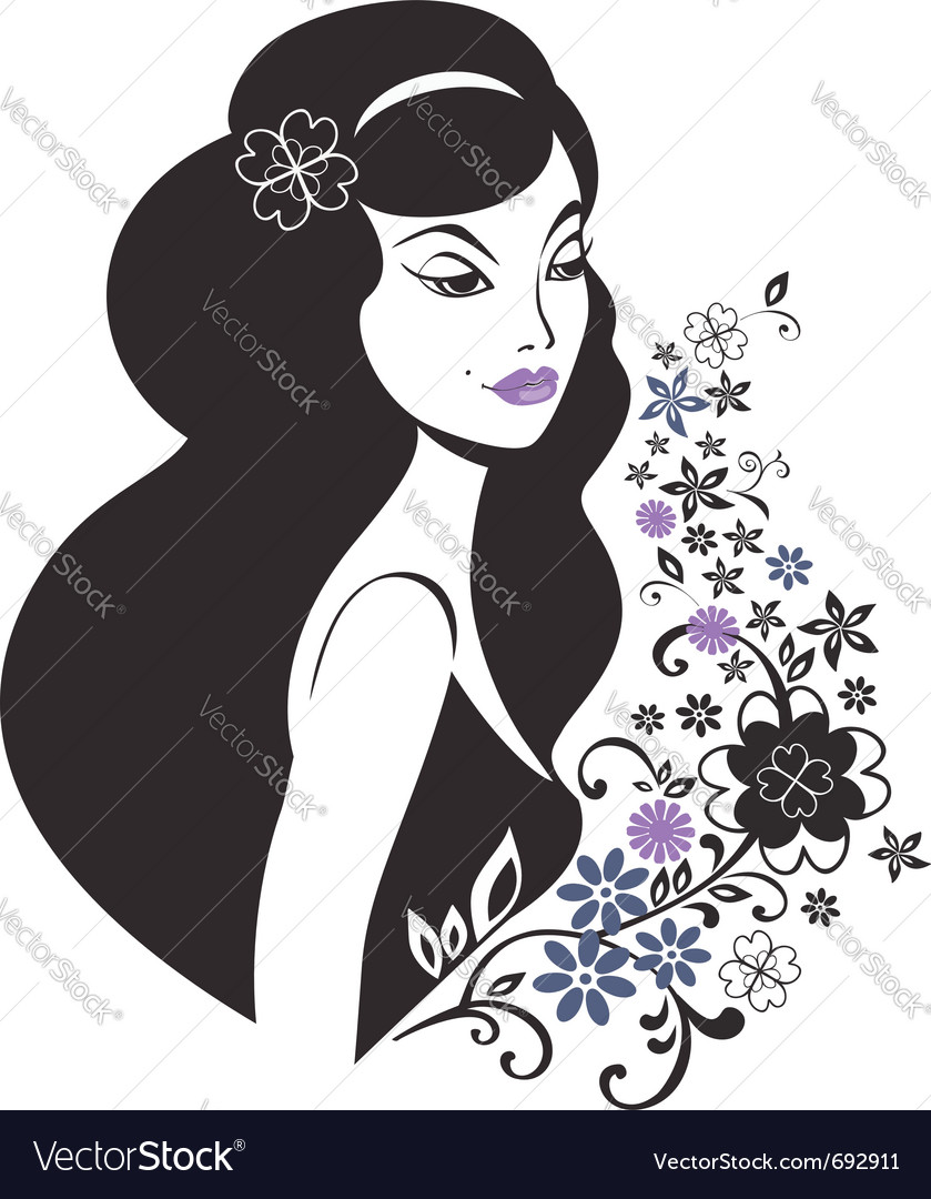 Beautiful young woman vector | Price:  Credit (USD $)