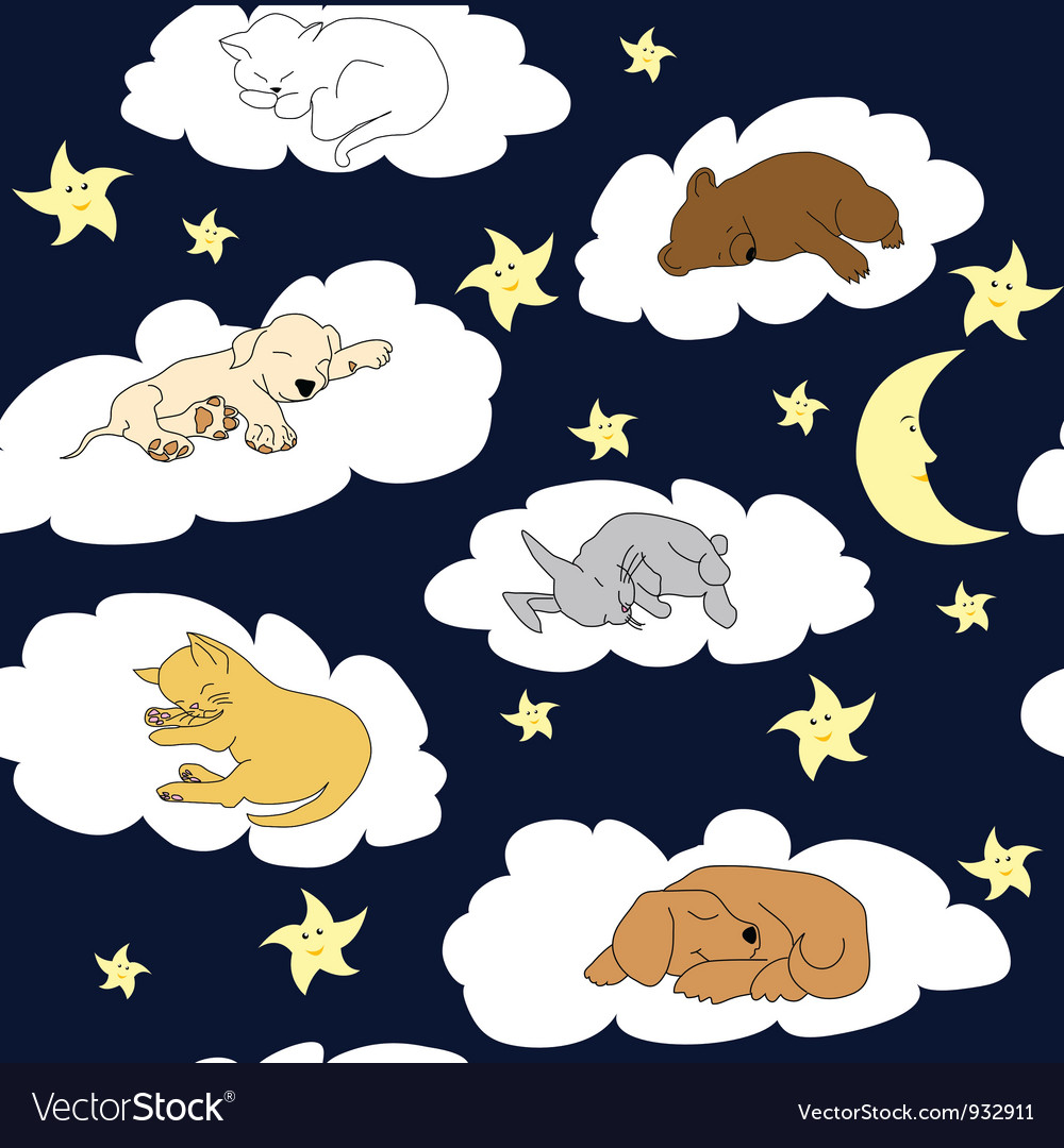 Cute pets night sky background vector | Price: 1 Credit (USD $1)