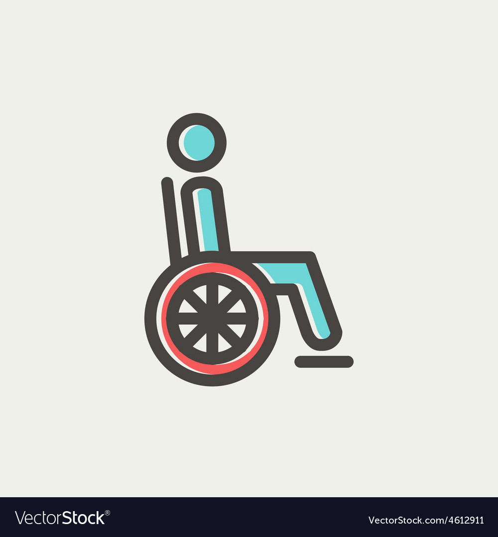Disabled person thin line icon vector | Price: 1 Credit (USD $1)