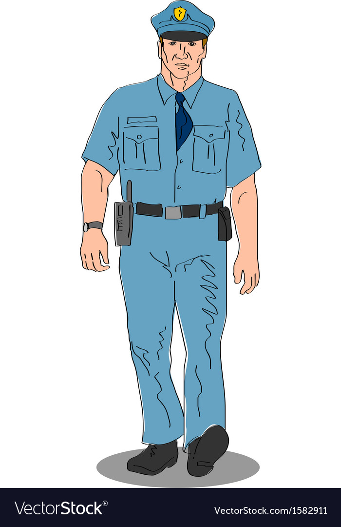 Policeman police officer walking vector | Price: 1 Credit (USD $1)