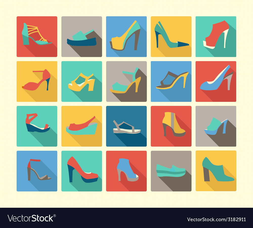 Shoes set icons set of fashion footwear vector | Price: 1 Credit (USD $1)