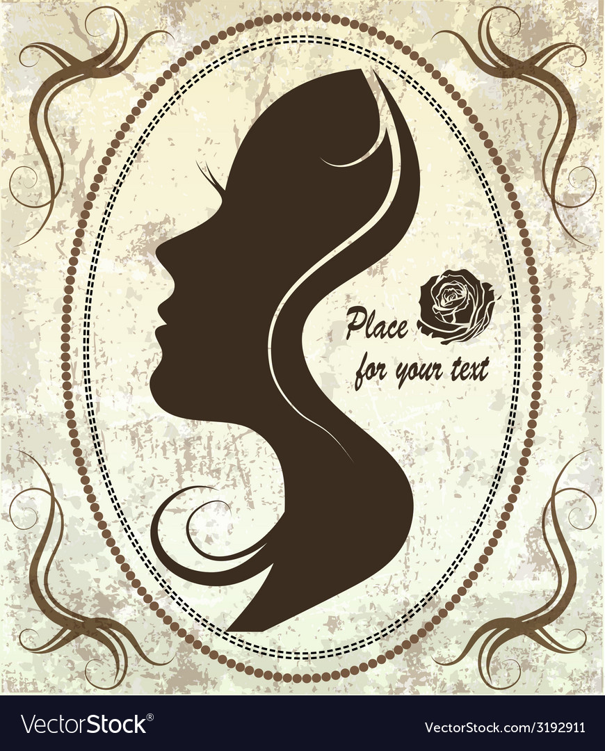 Silhouette of a womans face on a retro background vector | Price: 1 Credit (USD $1)