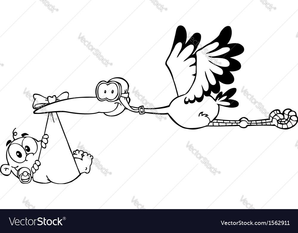 Stork delivering baby cartoon vector | Price: 1 Credit (USD $1)