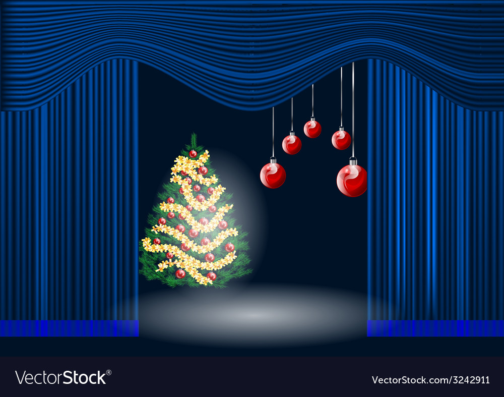 Theatre curtain and christmas tree vector | Price: 1 Credit (USD $1)