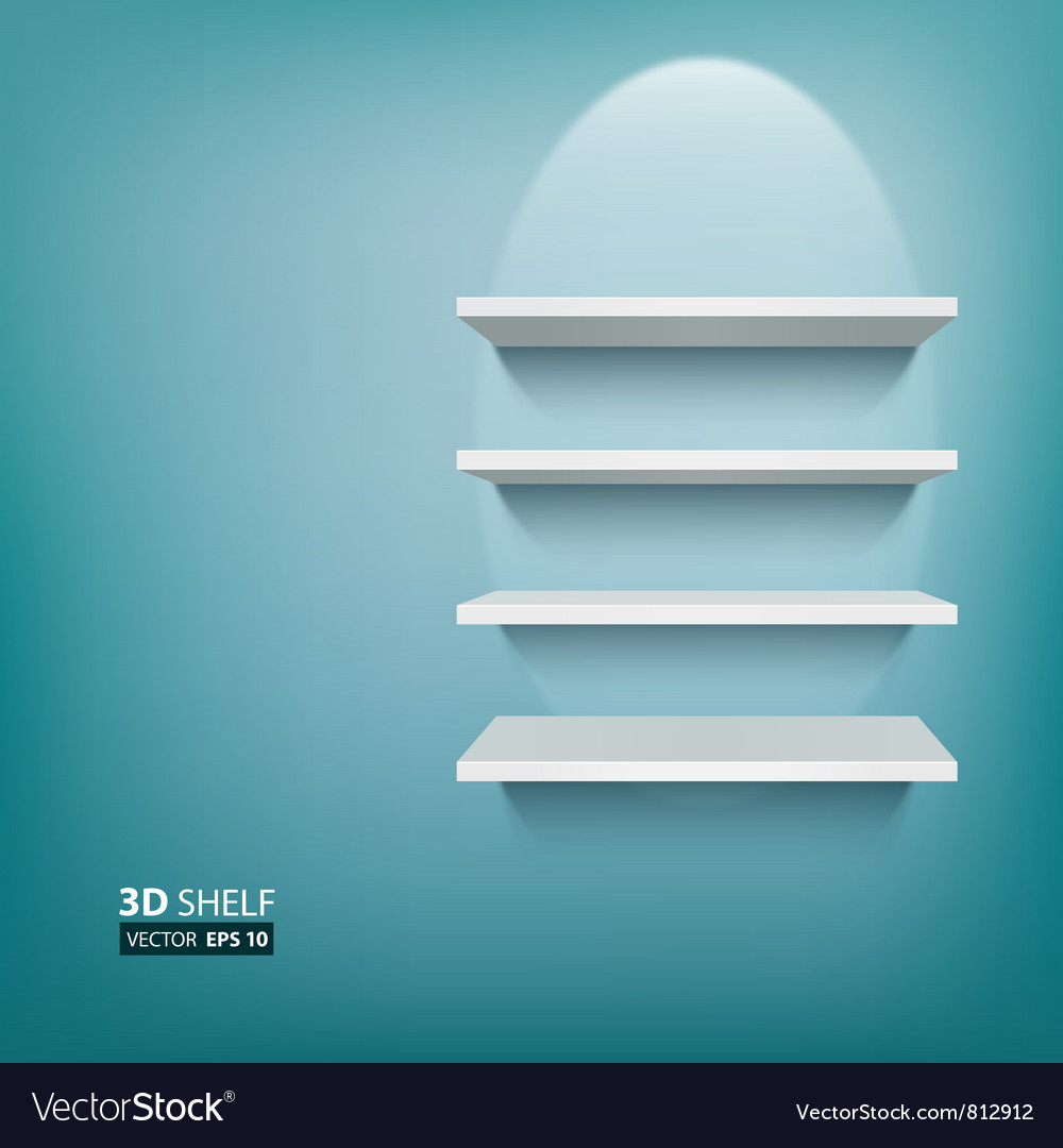 3d empty white ehelf for exhibit on blue vector | Price: 1 Credit (USD $1)