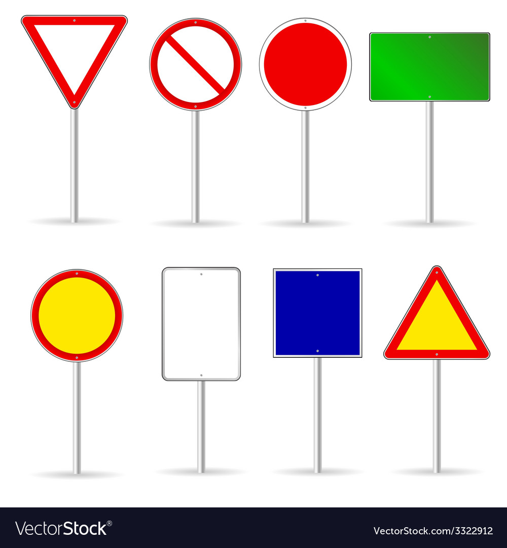 Blank traffic sign set two vector | Price: 1 Credit (USD $1)