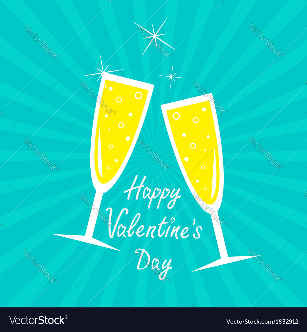 Champagne glasses sunburst happy valentines day vector | Price: 1 Credit (USD $1)