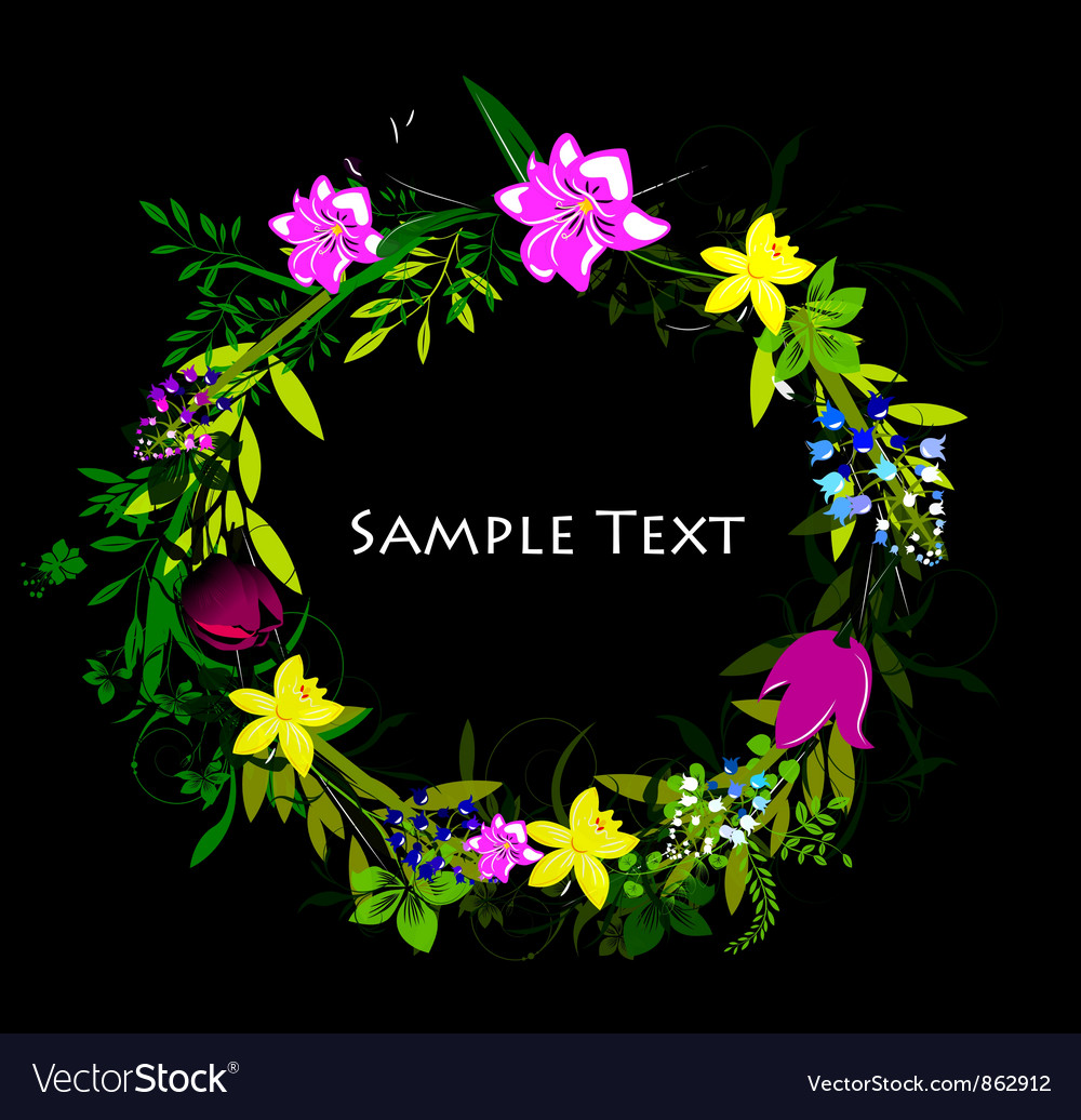 Colorful spring floral frame vector | Price: 1 Credit (USD $1)