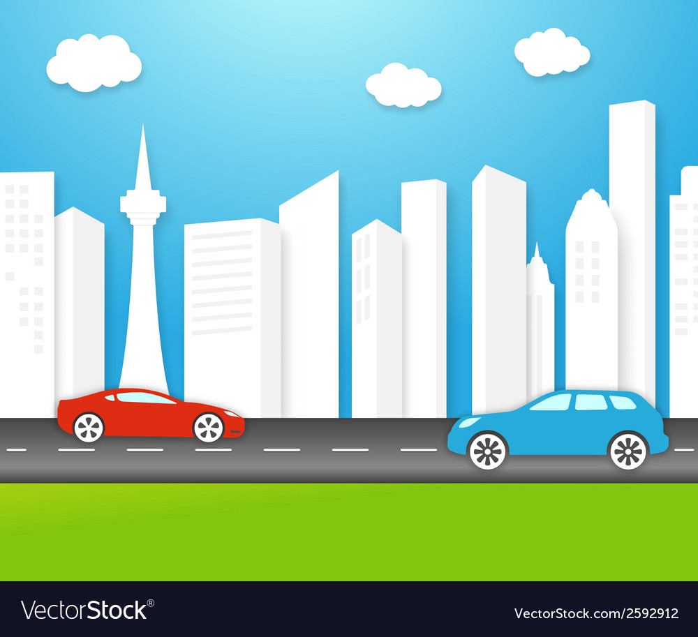 Eco-friendly city with white buildings vector | Price: 1 Credit (USD $1)