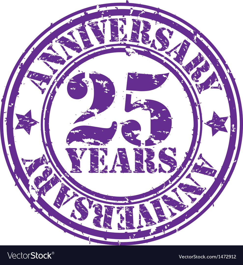 Grunge 25 years anniversary rubber stamp vector | Price: 1 Credit (USD $1)