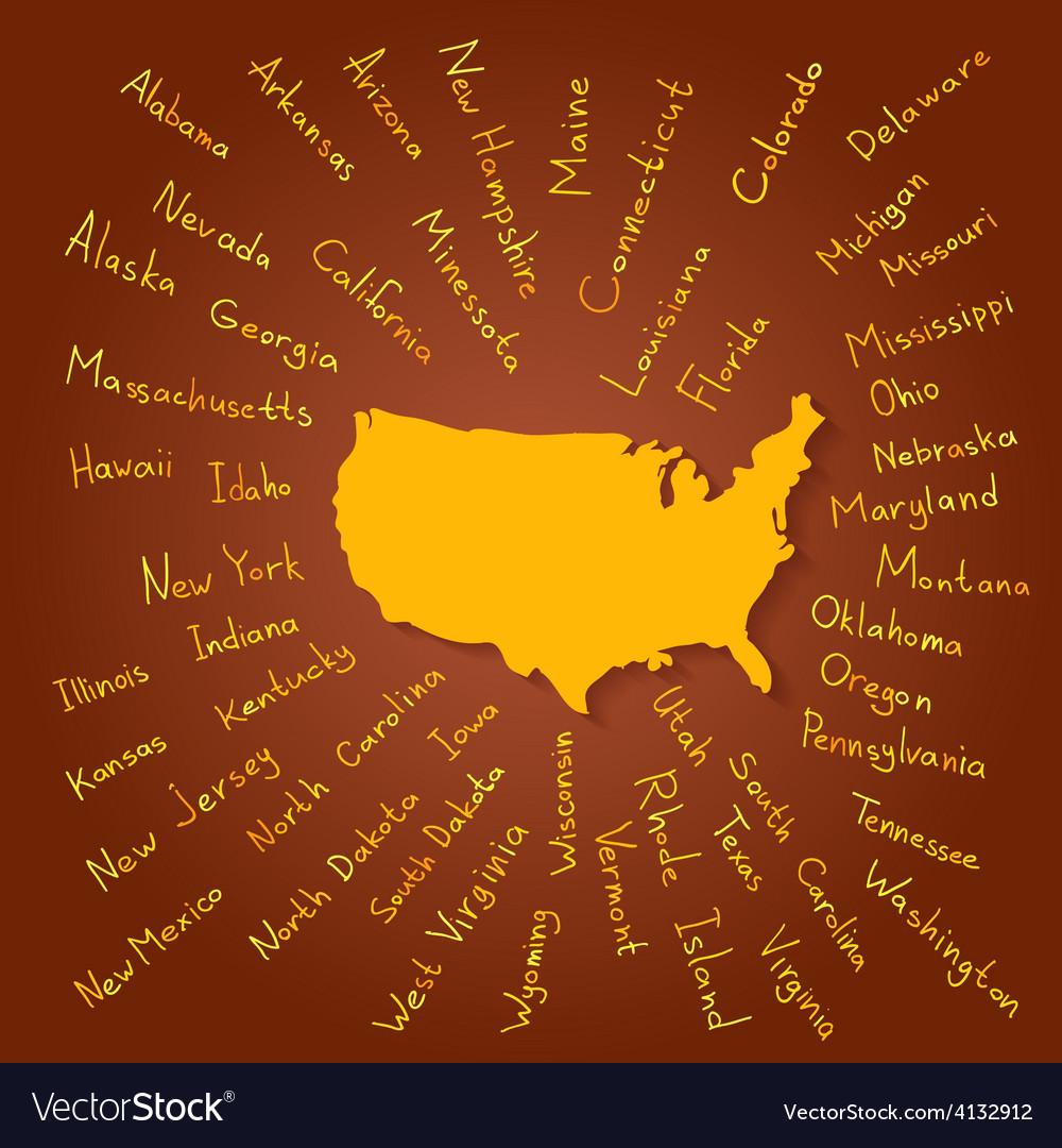 Hand drawn usa states vector | Price: 1 Credit (USD $1)