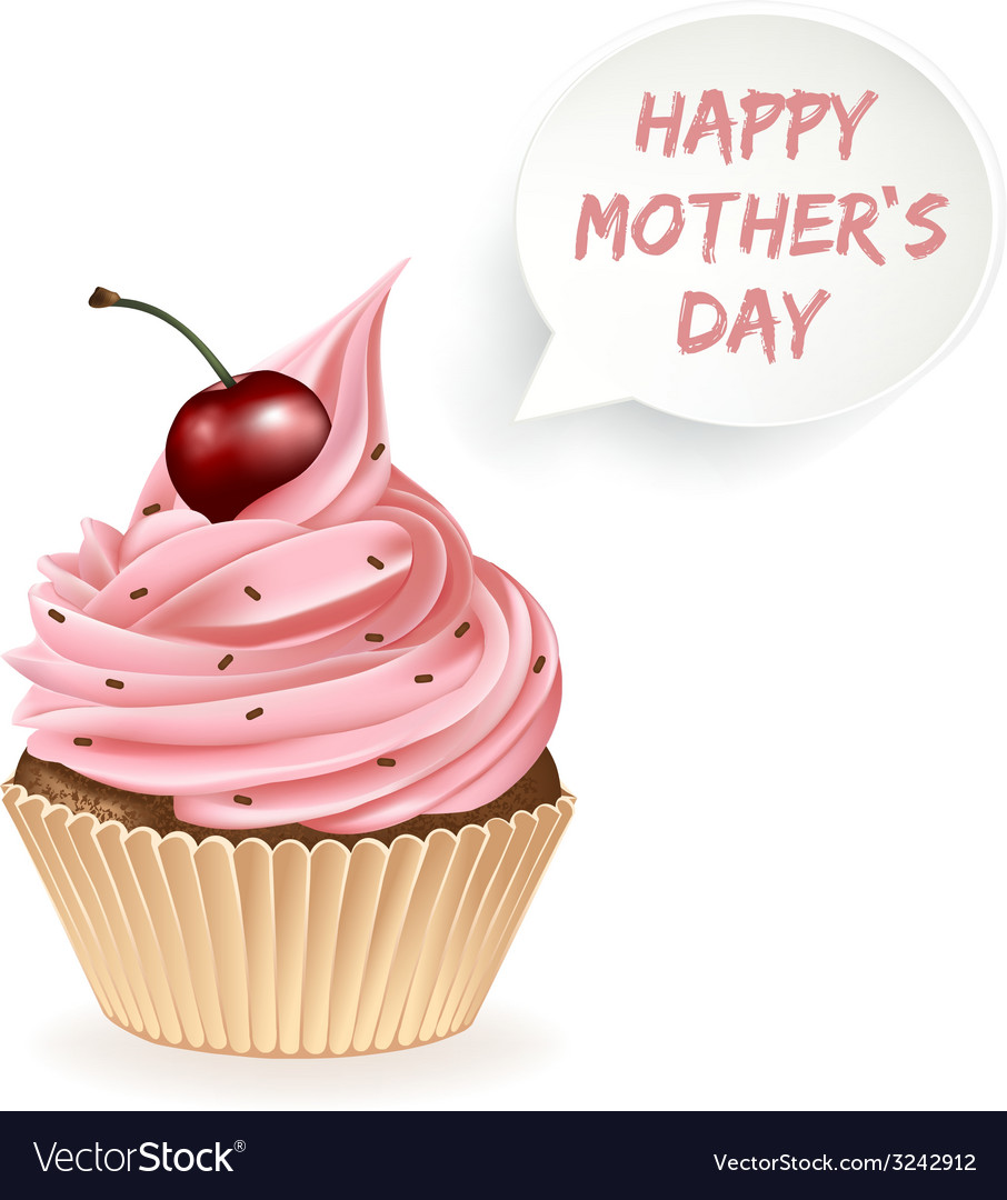Happy mothers day cupcake vector | Price: 3 Credit (USD $3)