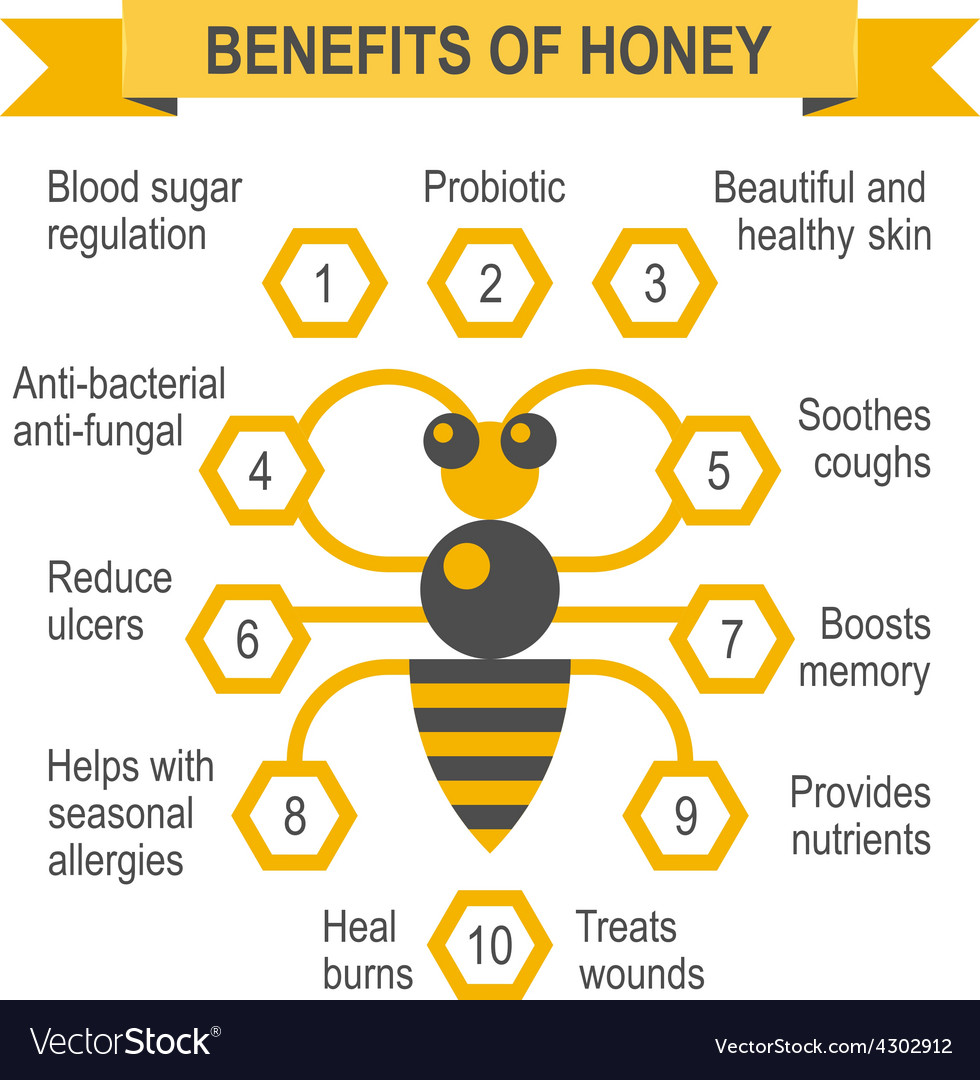 Healthy honey infographic placard vector | Price: 1 Credit (USD $1)
