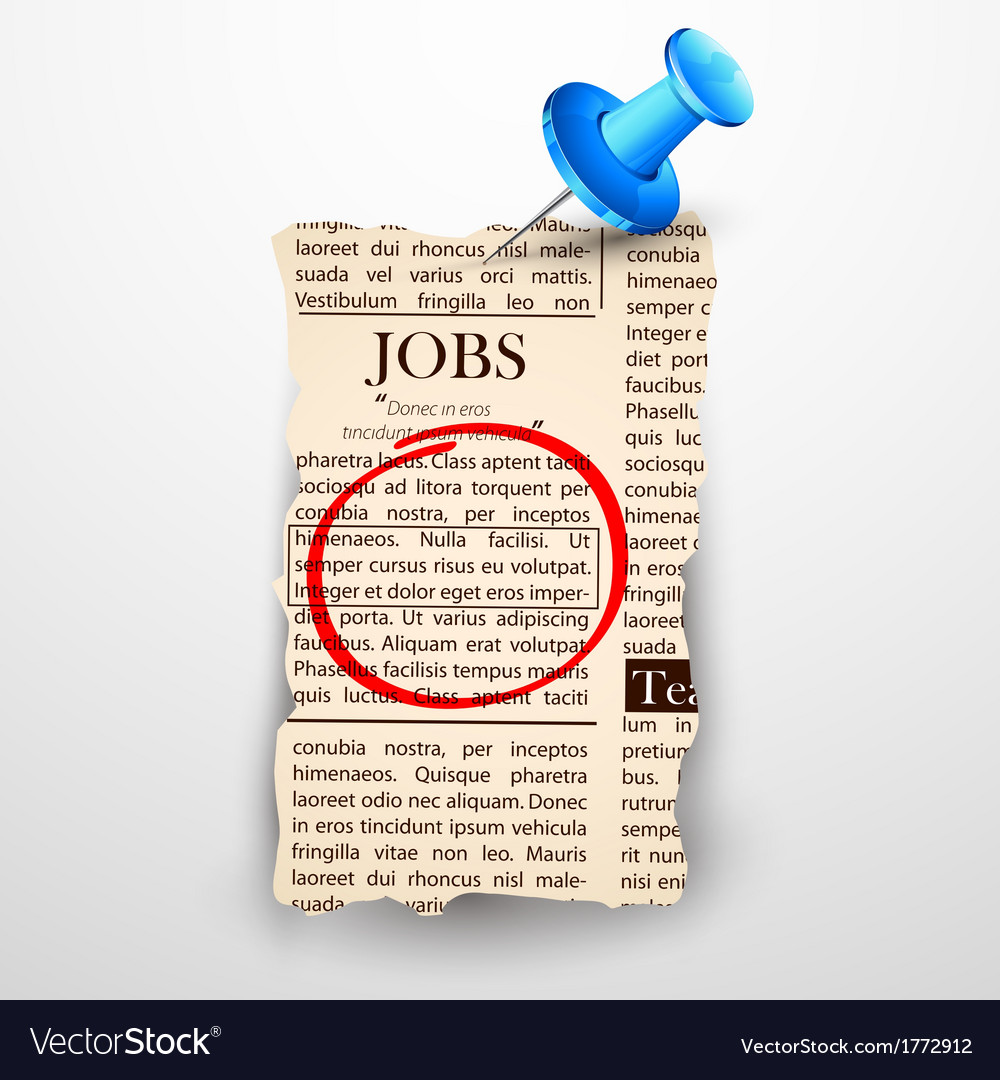Job classified in newspaper vector | Price: 1 Credit (USD $1)