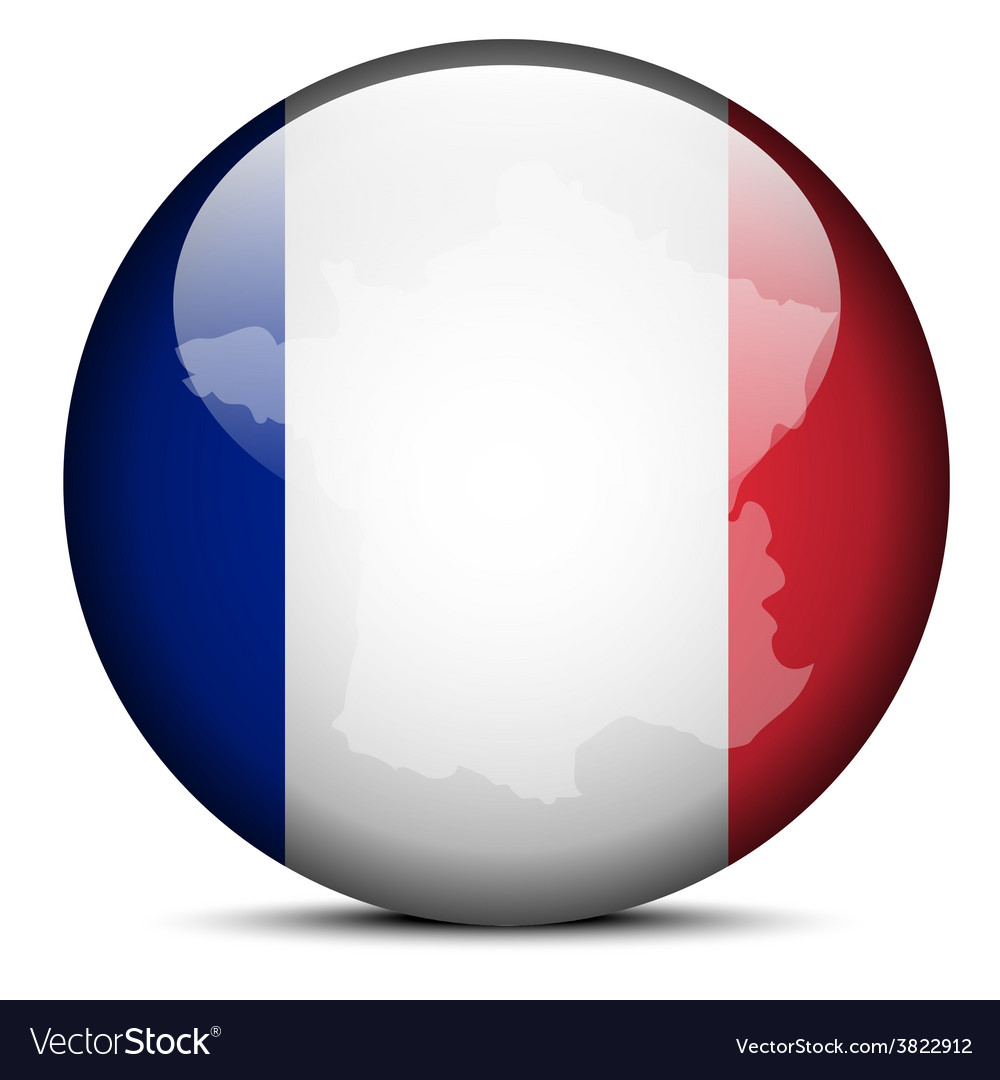Map on flag button of french republic france vector | Price: 1 Credit (USD $1)