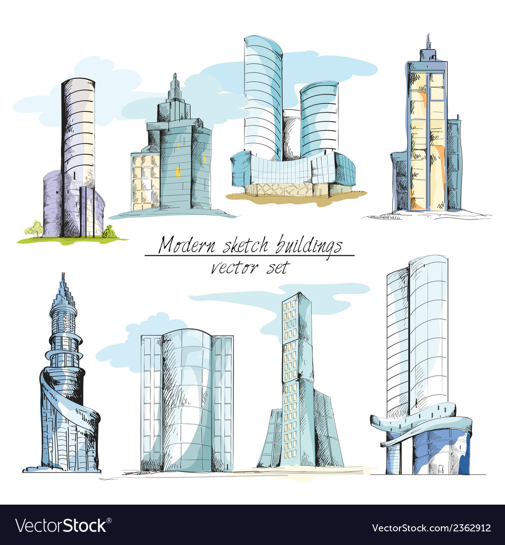 Modern sketch buildings colored vector | Price: 1 Credit (USD $1)