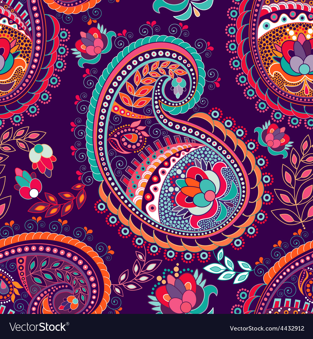 Paisley colorful seamless pattern vector | Price: 1 Credit (USD $1)