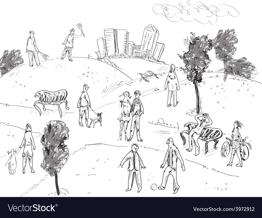 People in park vector | Price: 1 Credit (USD $1)
