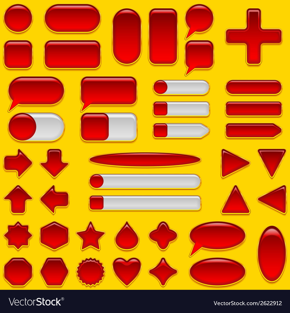 Red glass buttons set vector | Price: 1 Credit (USD $1)