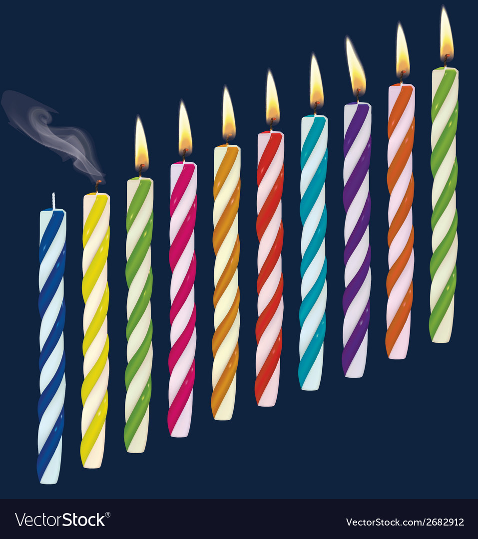 Set of birthday multicolored candles vector | Price: 1 Credit (USD $1)