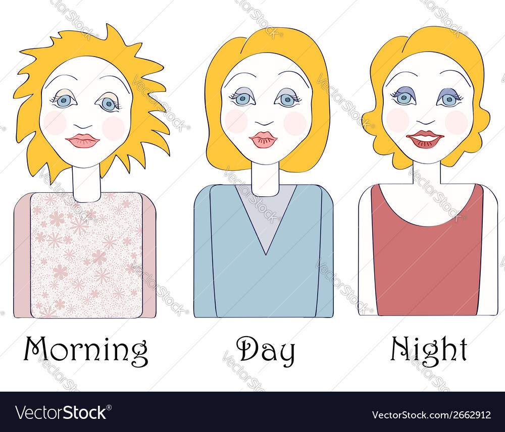 Set of young caucasian woman views vector | Price: 1 Credit (USD $1)