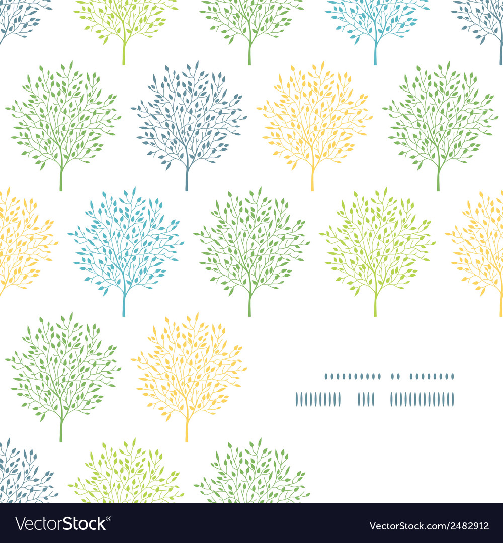 Summer trees colorful frame corner pattern vector | Price: 1 Credit (USD $1)