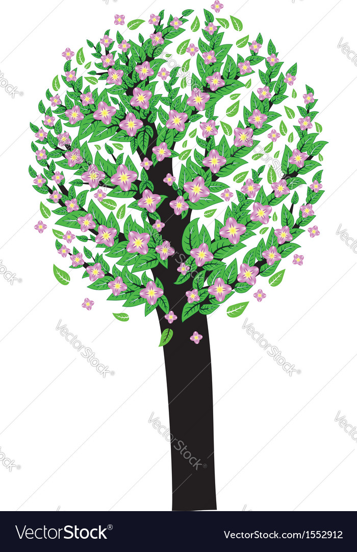 Tree with pink blossom vector | Price: 1 Credit (USD $1)