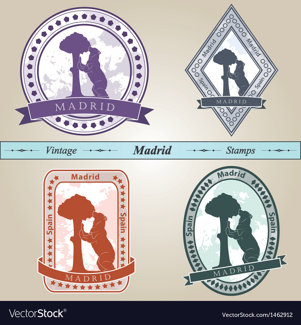 Vintage stamp madrid vector | Price: 1 Credit (USD $1)