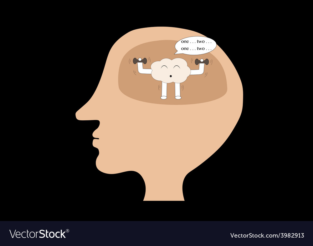 Brain cartoon exercise inside human head vector | Price: 1 Credit (USD $1)
