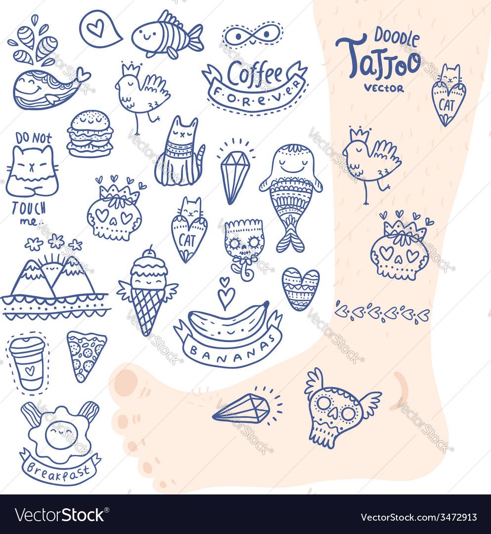 Cute cartoon hand drawn doodle tattoo set vector | Price: 1 Credit (USD $1)