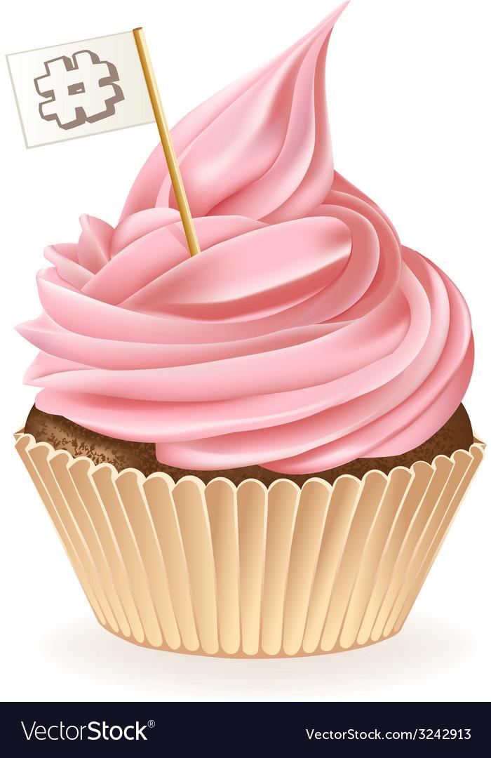 Hash tag cupcake vector   Price: 3 Credit (USD $3)