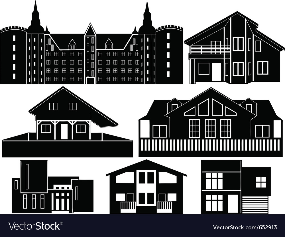 House silhouettes vector | Price: 1 Credit (USD $1)