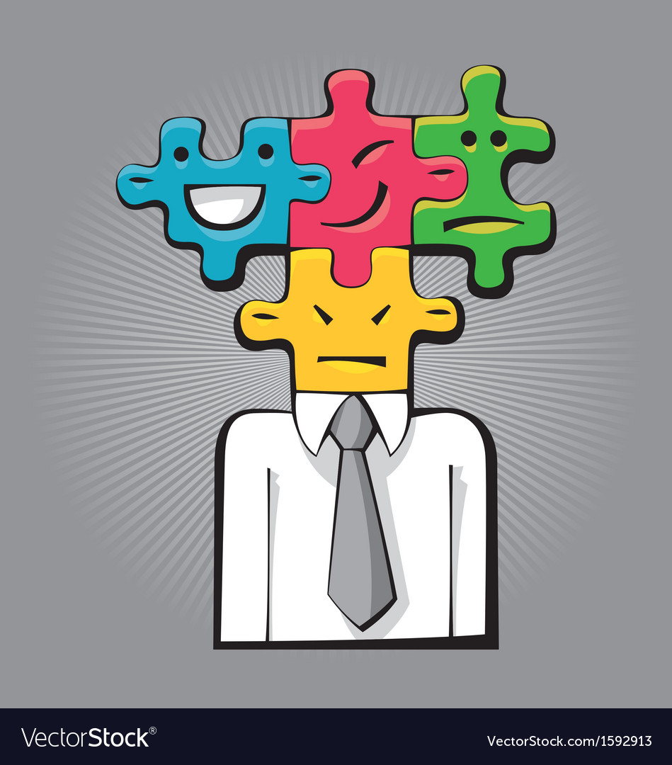 Puzzle faces vector