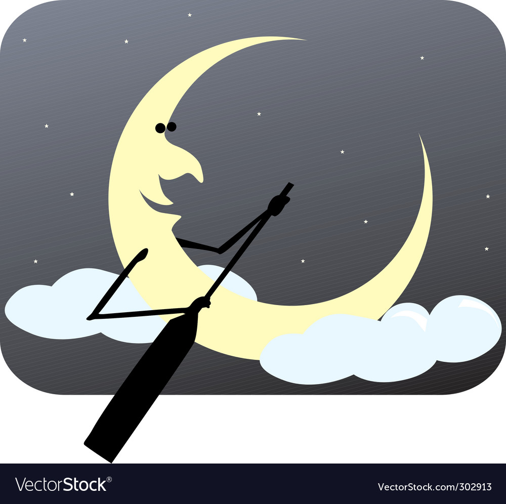 Rowing moon vector | Price: 1 Credit (USD $1)