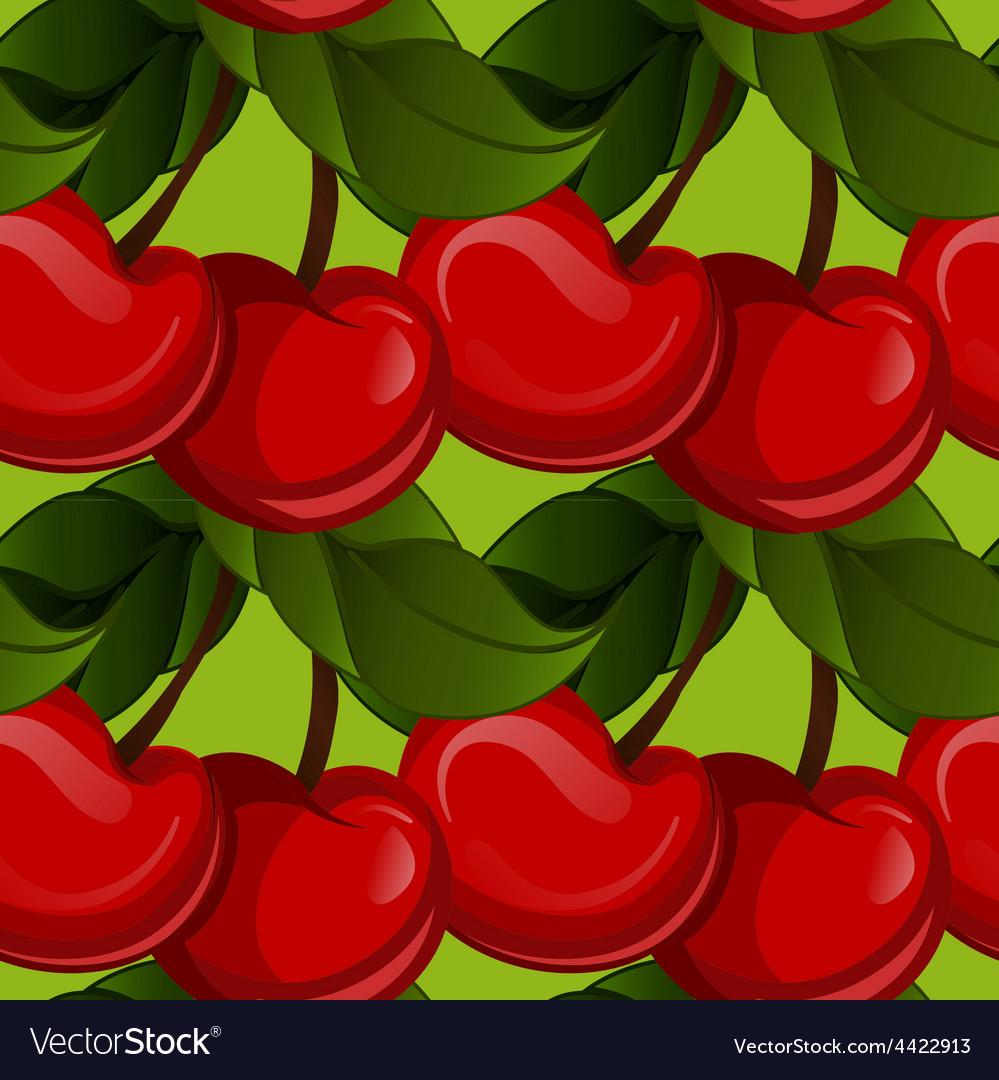 Seamless texture - bright juicy fresh cherry fruit vector | Price: 1 Credit (USD $1)