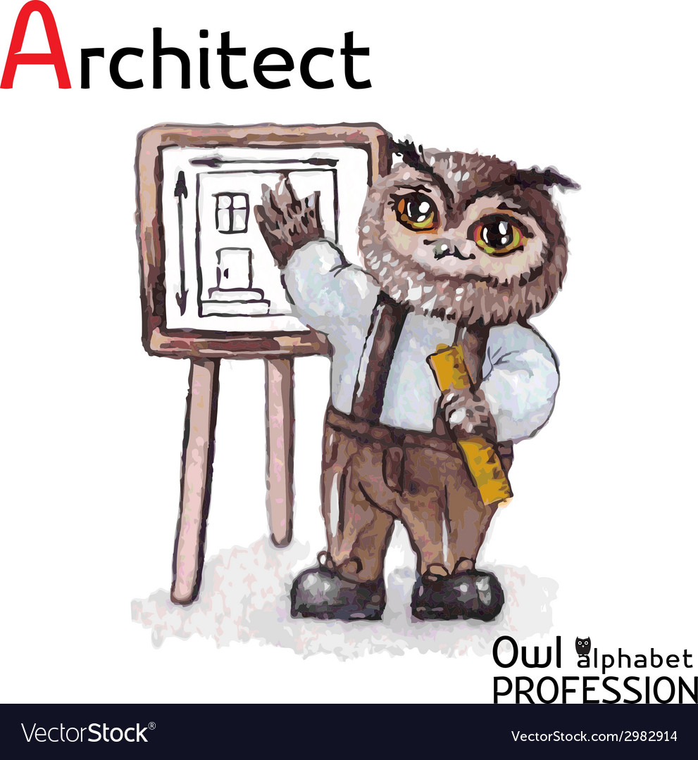 Alphabet professions owl architect character on a vector | Price: 1 Credit (USD $1)