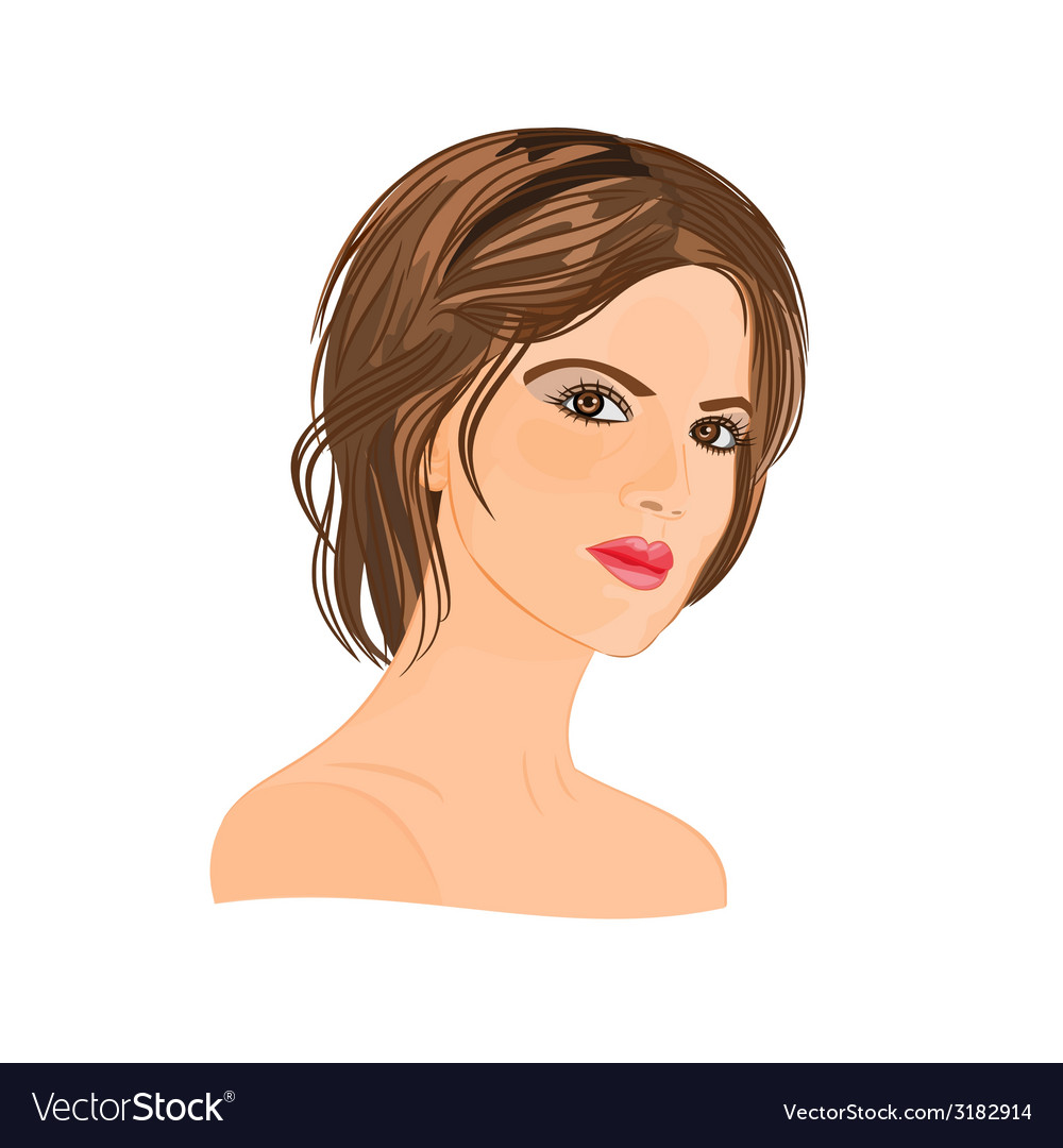 Beautiful young woman with short hair vector | Price: 1 Credit (USD $1)
