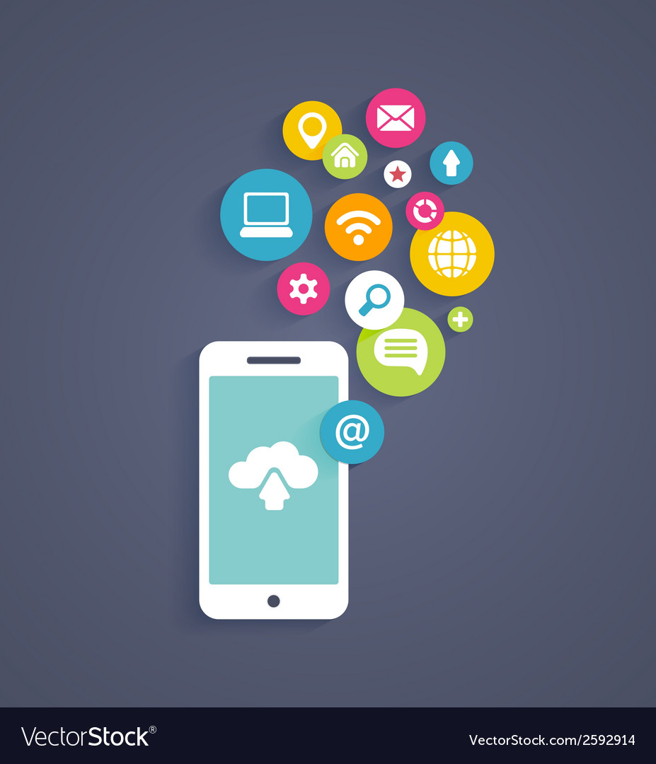 Cloud computing on a mobile phone vector | Price: 1 Credit (USD $1)