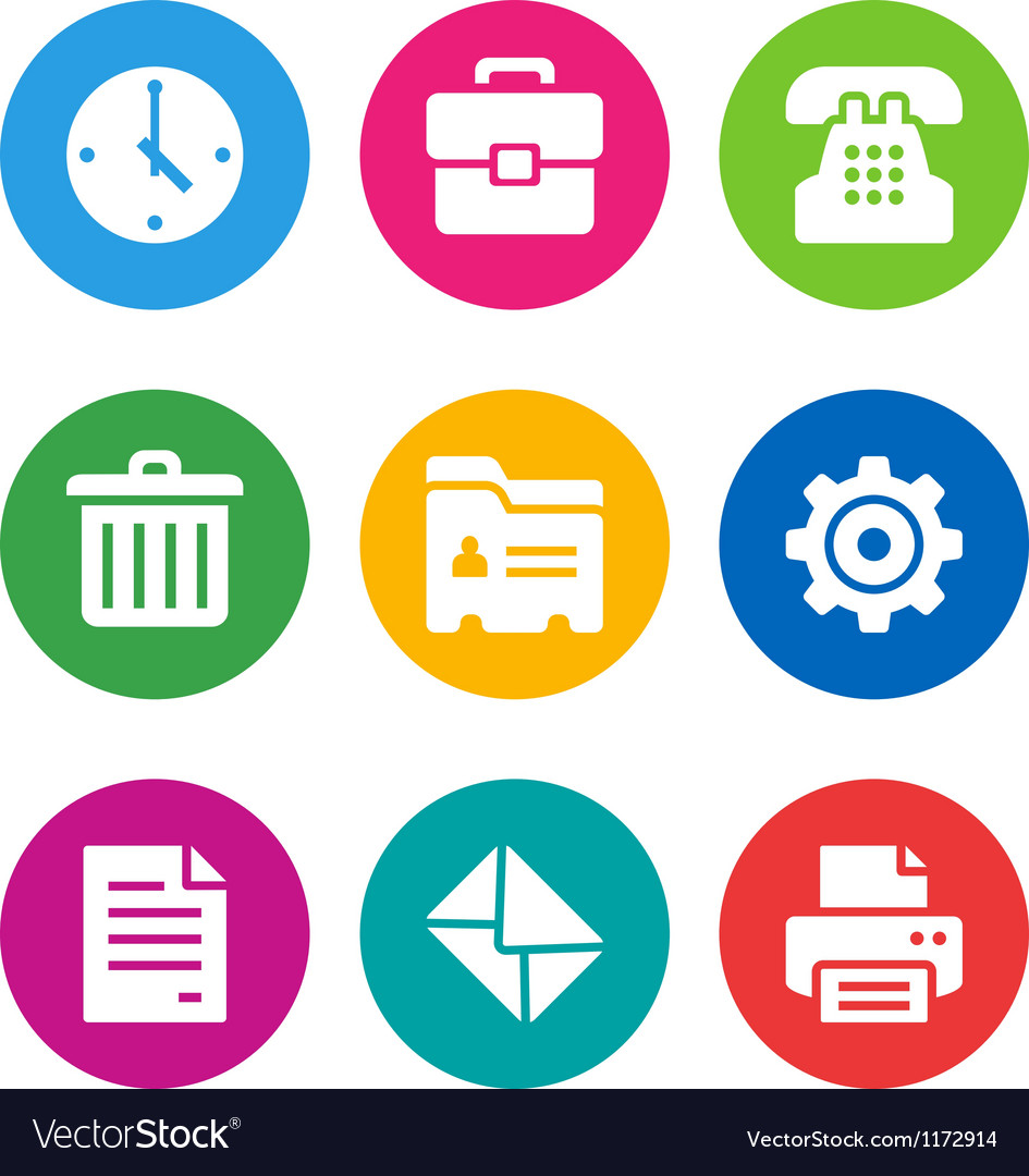 Color office icons vector | Price: 1 Credit (USD $1)