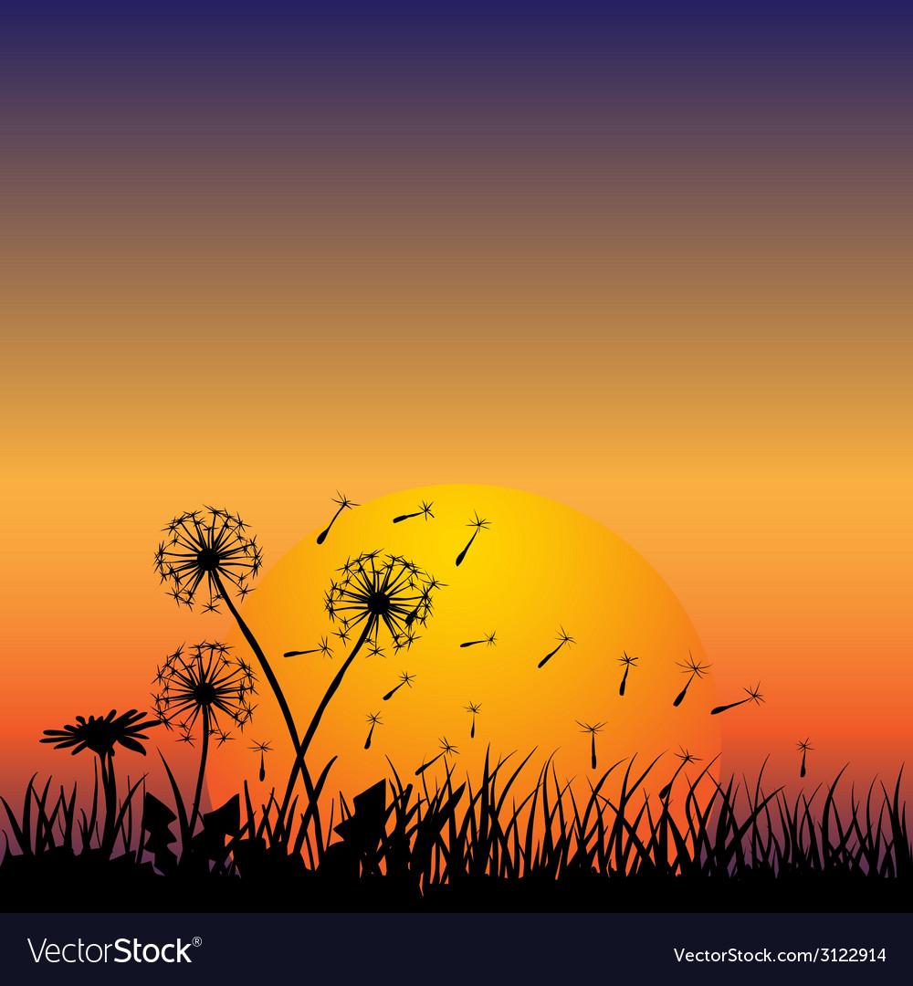Dandelion in the wind vector | Price: 1 Credit (USD $1)