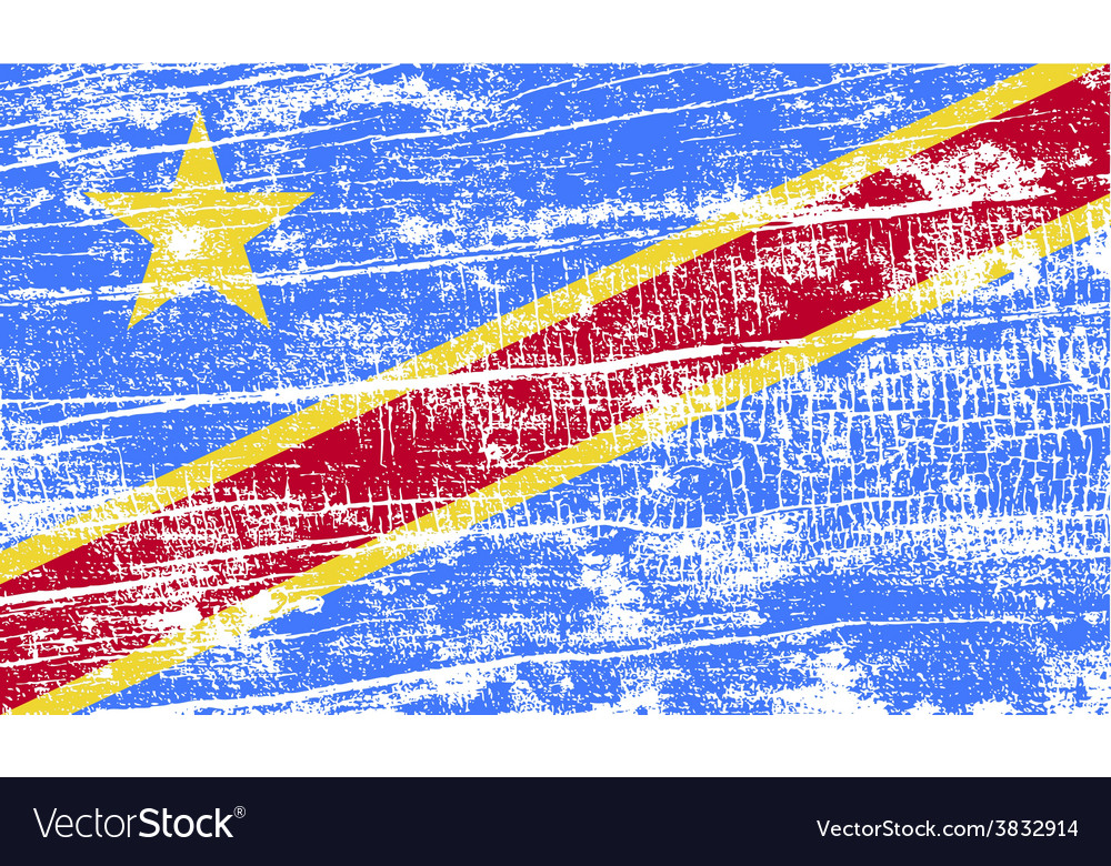 Flag of congo democratic republic with old texture vector | Price: 1 Credit (USD $1)
