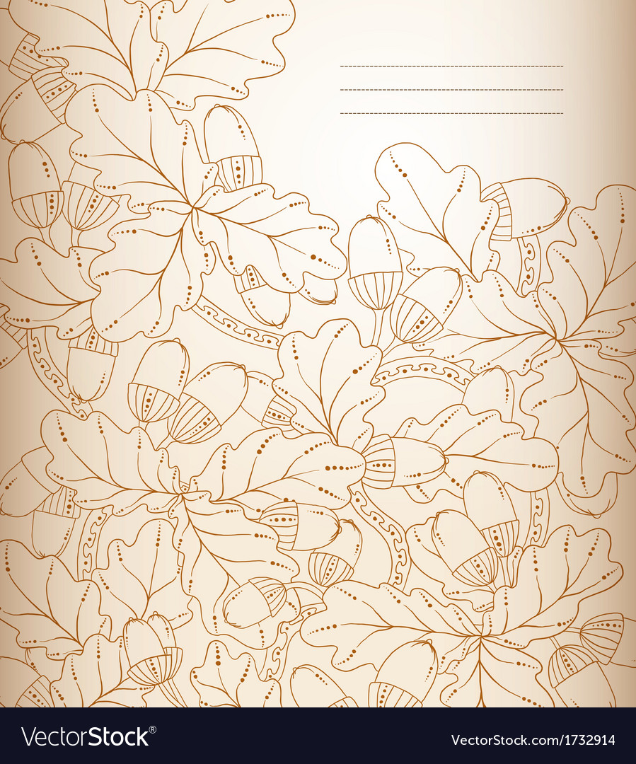Floral background retro oak leaves and acorns vector | Price: 1 Credit (USD $1)