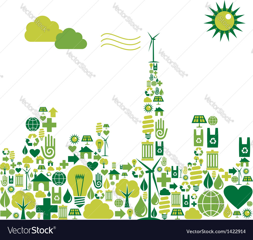 Green city environmental icons vector | Price: 1 Credit (USD $1)